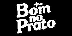 logo branco do arroz Bom no Prato com fundo transparente