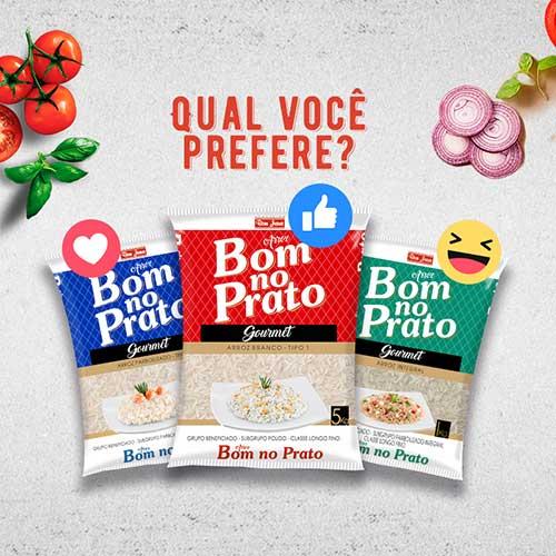 """Imagem com a pergunta """"Qual você prefere"""" e os pacotes de arroz branco, integral e parboilizado da marca Bom no Prato"""