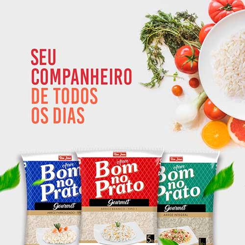 """Imagem com a frase """"Seu companheiro de todos os dias"""" e os pacotes de arroz branco, integral e parboilizado da marca Bom no Prato"""