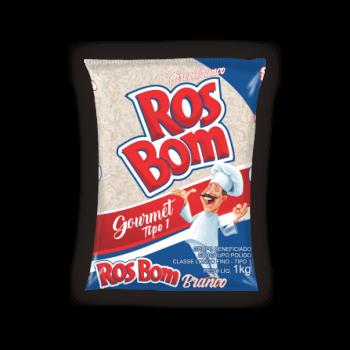 Imagens de três pacotes de 5ks do arroz branco da marca RosBom