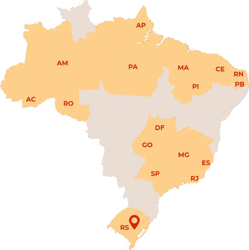 imagem de um mapa do brasil com alguns estados em cor de destaque
