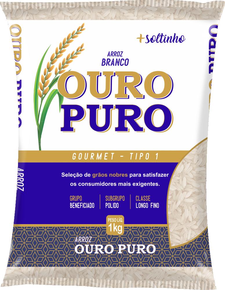 Imagem do Pacote de 1kg do Arroz Branco da marca Ouro Puro