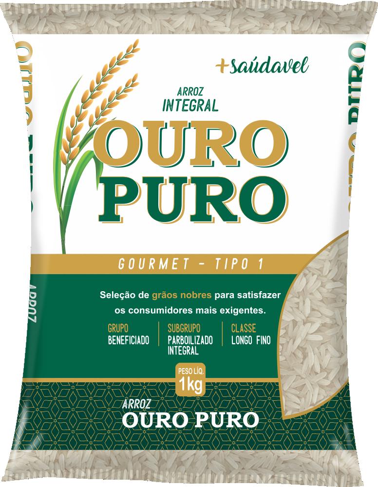Imagem do Pacote de 1kg do Arroz Integral da marca Ouro Puro