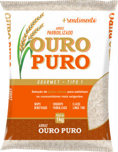Imagem do Pacote de 1kg do Arroz Parboilizado da marca Ouro Puro