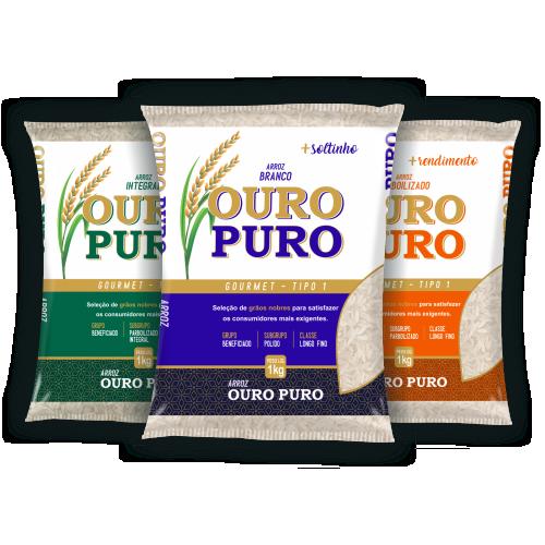 Imagens de três pacotes de 5ks do arroz branco, integral e parboilizado da marca Ouro Puro